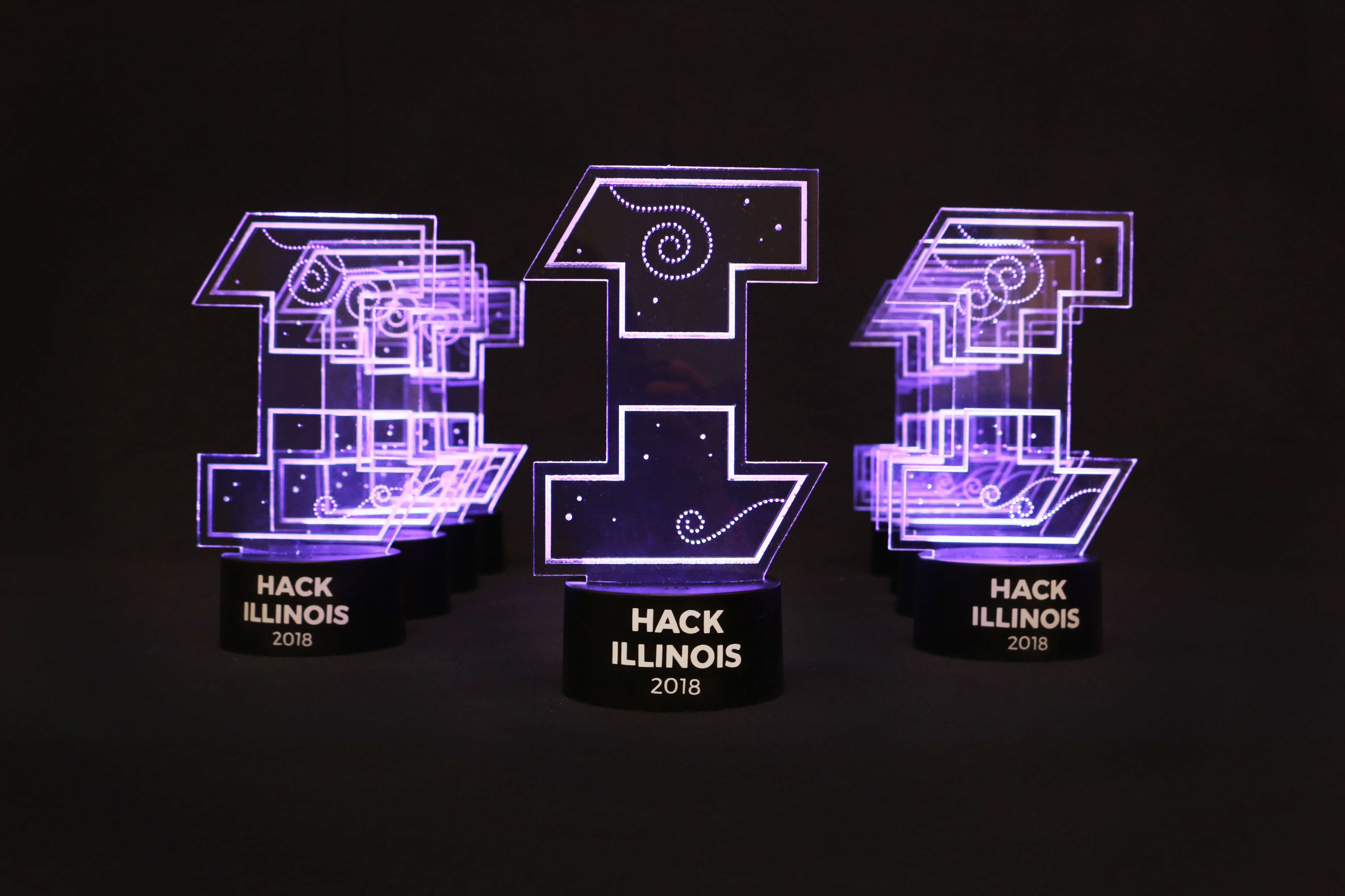 The trophies given to the HackIllinois 2018 winners.